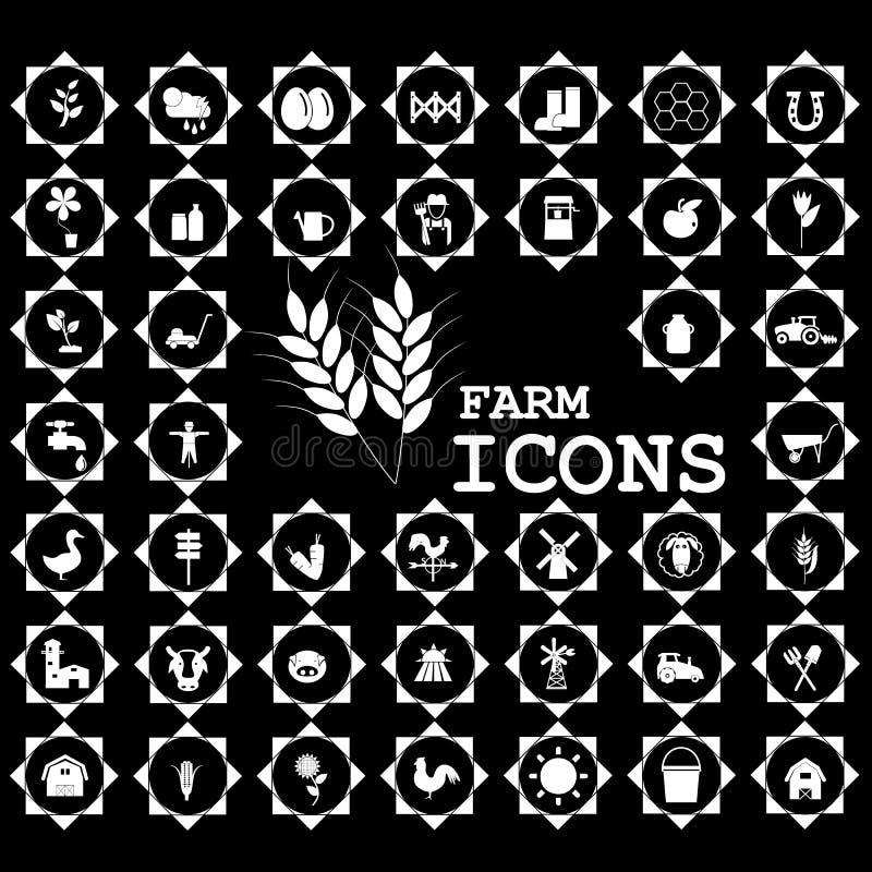 Vit symbol för att bruka och jordbruk vektor illustrationer