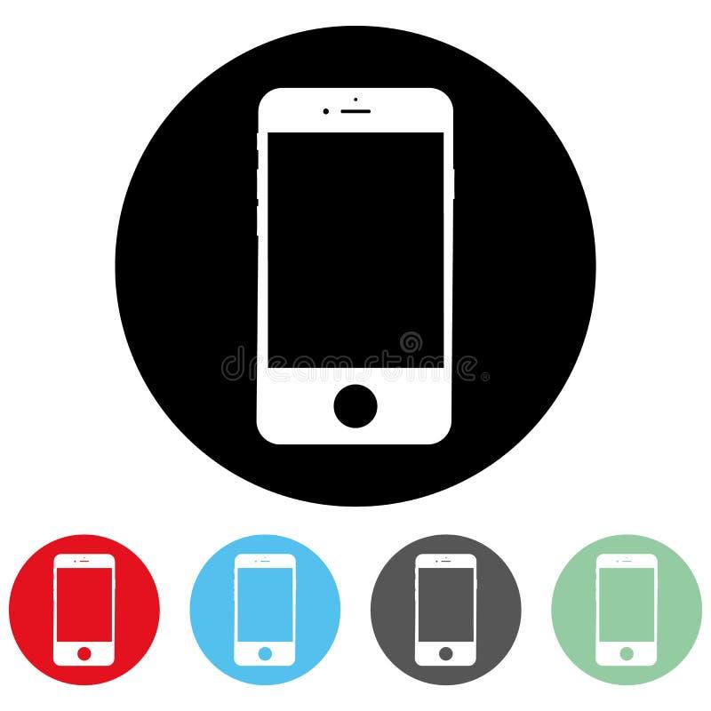 Vit symbol för kontakt för smartphonemobiltelefonservice i cirkel Smartphone mobiltelefontecken för vektor för knapp för kontakt  royaltyfri illustrationer