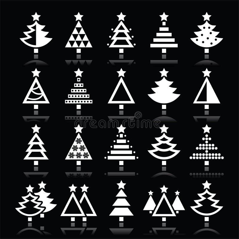 Vit symbolsuppsättning för julgran på svart vektor illustrationer
