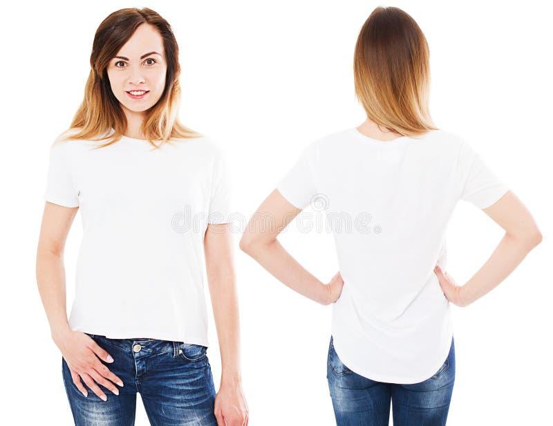 Vit t-skjorta f?r kvinna som upps?ttning isoleras p? vit arkivfoton