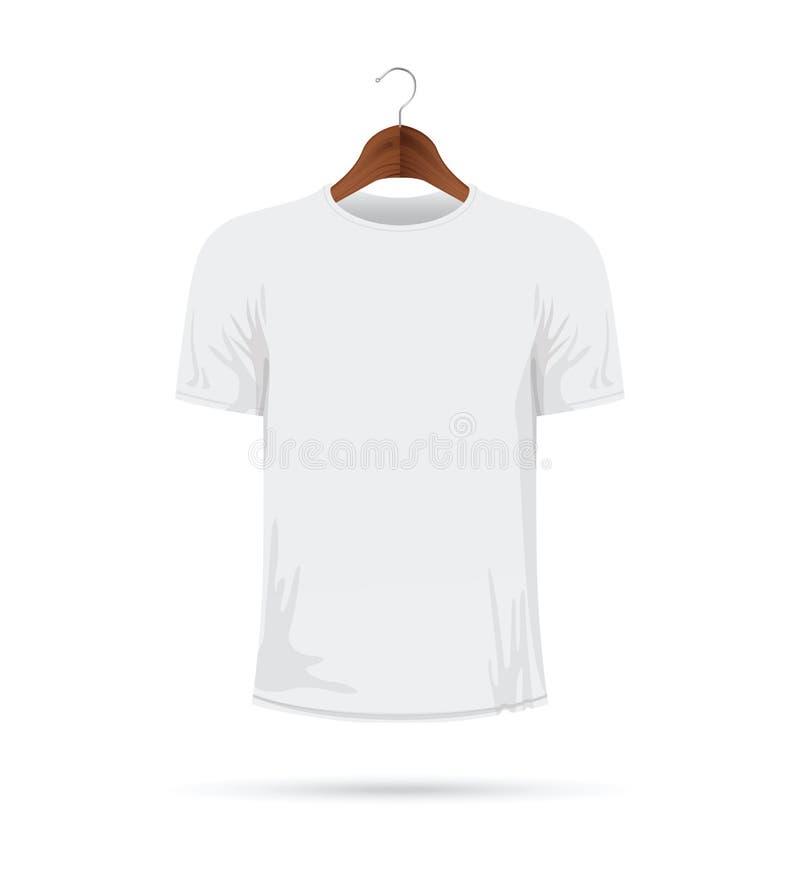 Vit t-skjorta på en laghängare stock illustrationer