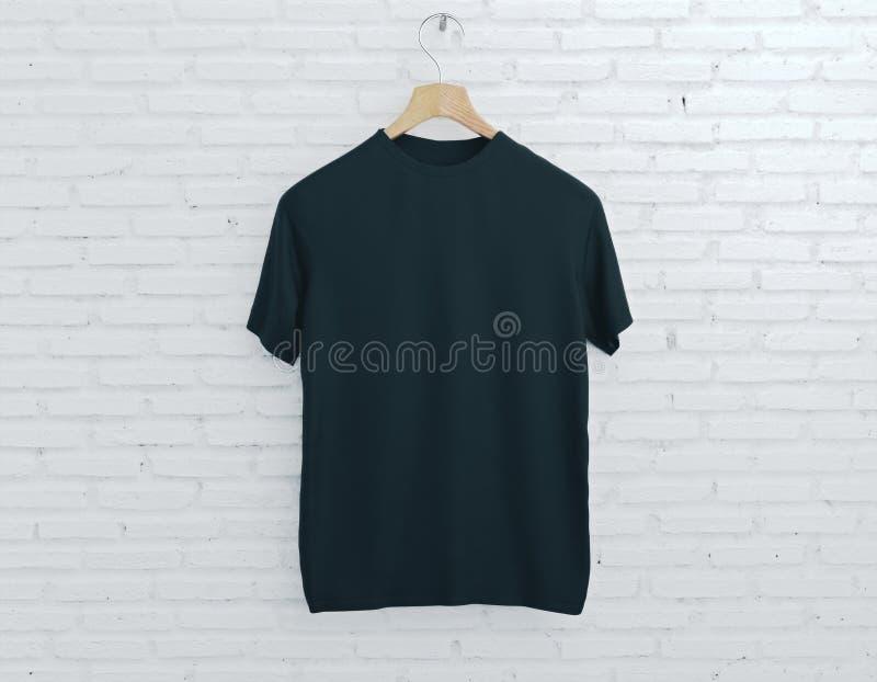 Vit t-skjorta på ljus tegelstenbakgrund royaltyfri illustrationer