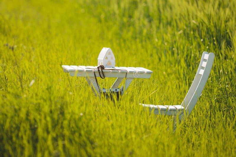 Vit tabell och stol i gräs arkivfoton