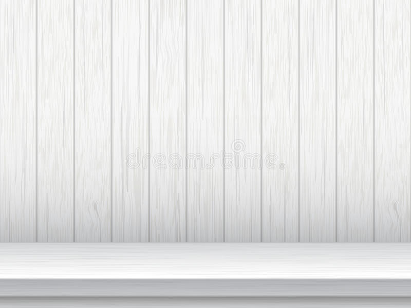 Vit tabell och träplankabakgrund vektor illustrationer