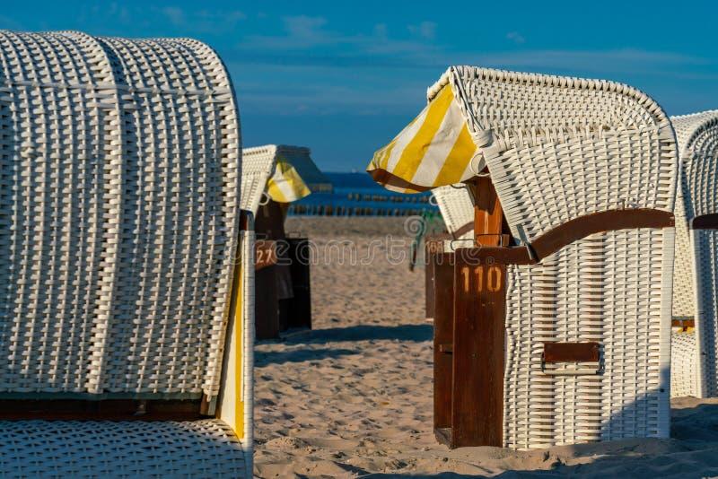 Vit taklade vide- strandstolar i guld- solljus royaltyfri fotografi