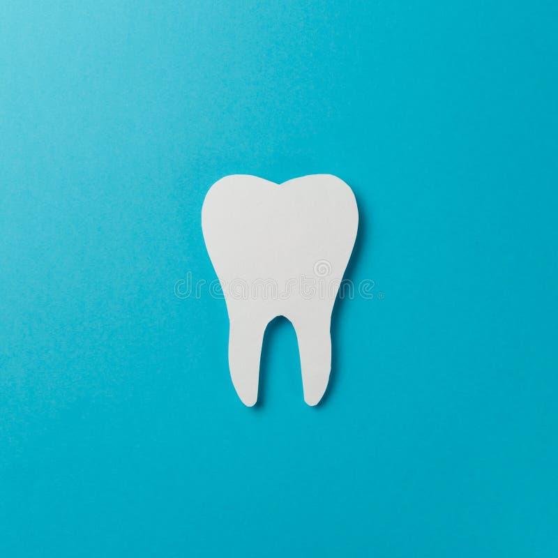 Vit tand p? bl? bakgrund fotografering för bildbyråer