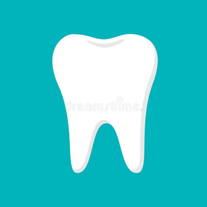Vit tandillustration på blå bakgrund royaltyfri illustrationer