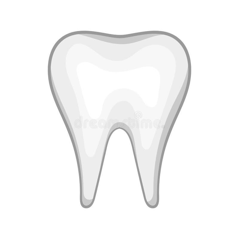 Vit tandsymbol i tecknad filmstil vektor illustrationer