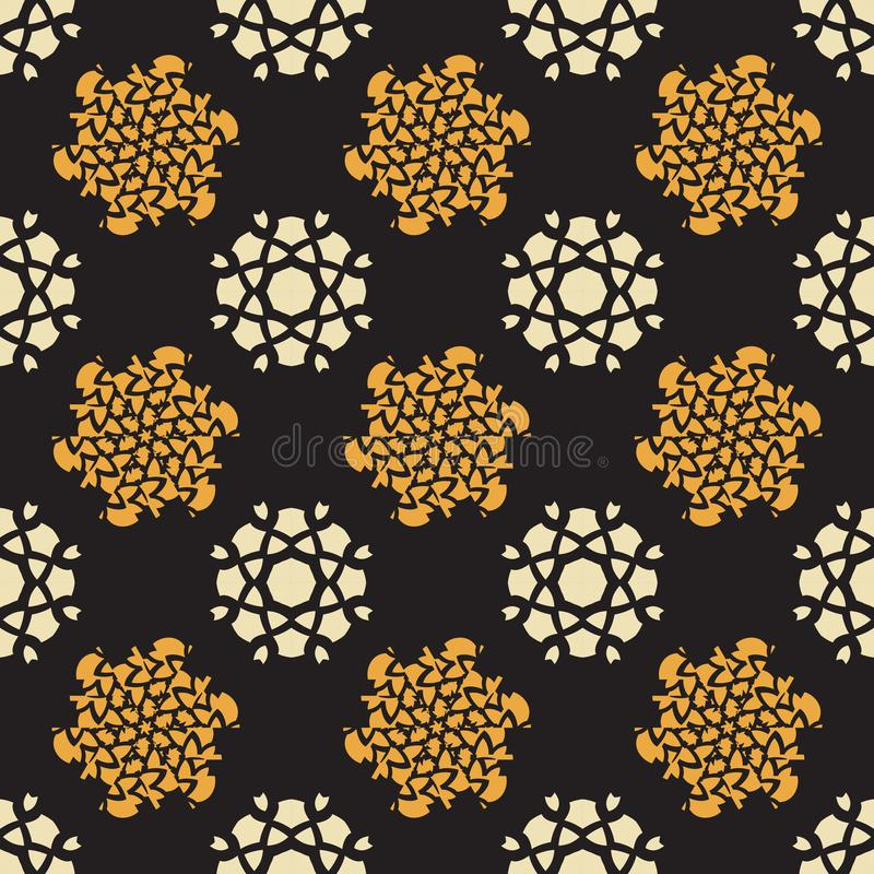 Vit tappning och gul blomma som upprepar för modellsvart för vektor sömlös bakgrund - tygsamlingar vektor illustrationer