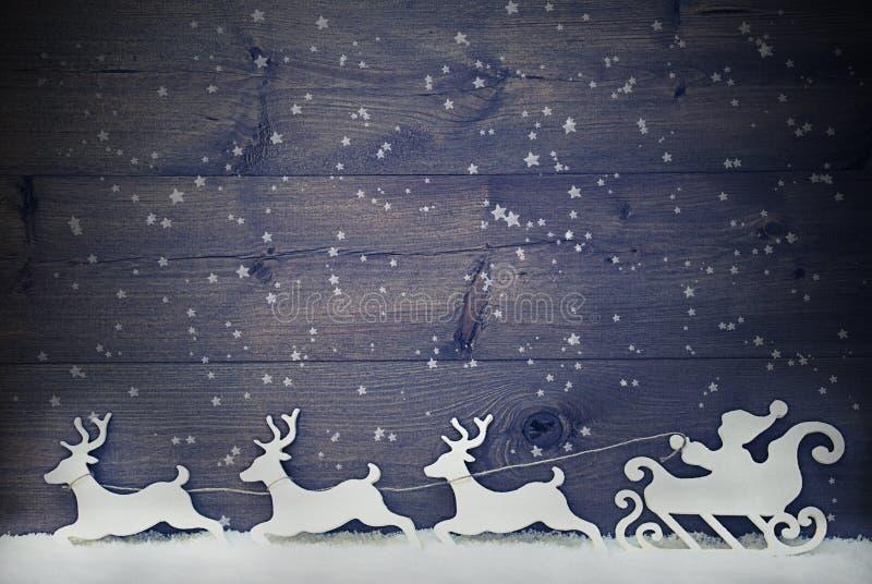 Vit tappning Santa Claus Sled, ren, snö, kopieringsutrymme, stjärna royaltyfria bilder