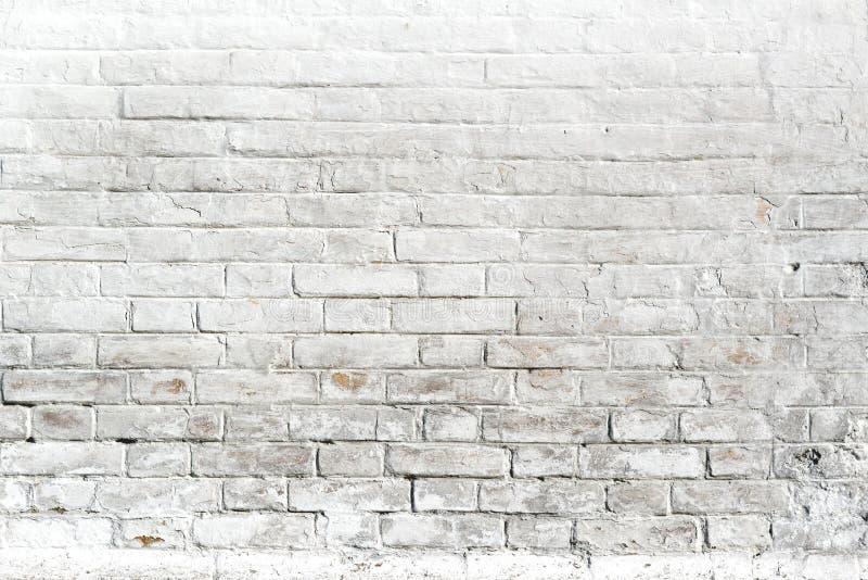 Vit tegelstenvägg för bakgrund eller textur fotografering för bildbyråer