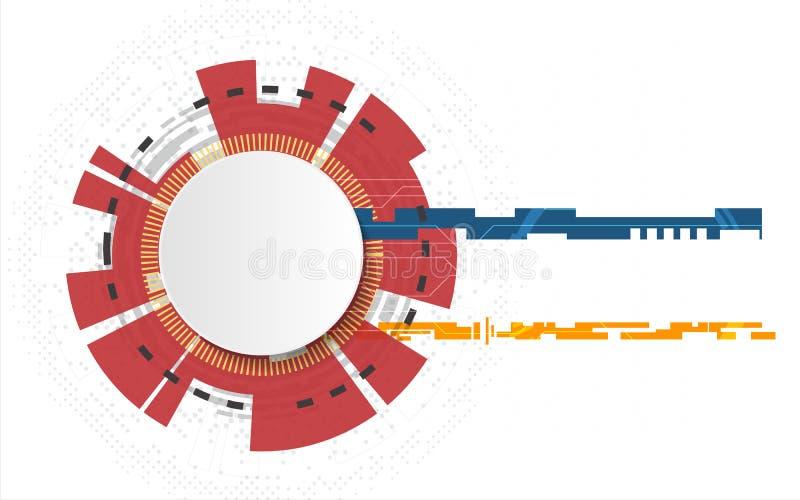 Vit teknologicirkel och abstrakt bakgrund för datavetenskap med strömkretslinjen Aff?r och anslutning Futuristiskt och stock illustrationer
