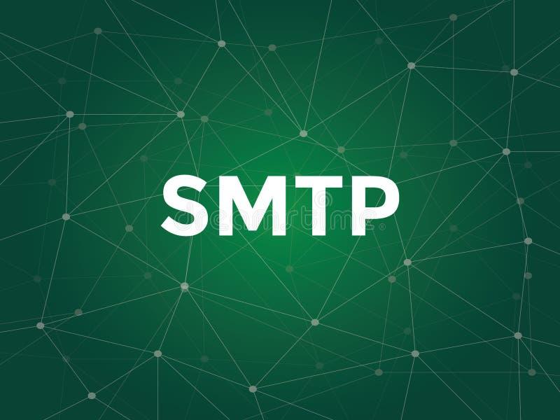 Vit text för illustration på grön bakgrund för smtp - protokollet för serverpostöverföringen är ett TCP IP-protokoll som in använ stock illustrationer