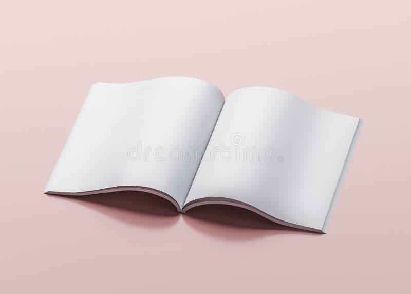 Vit tidskriftmall på rosa bakgrund - illustration 3D royaltyfri illustrationer