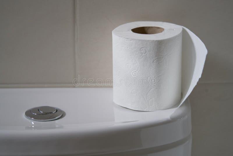 Vit toalettbunke i ett badrum med rullen av papper överst i perfekta signaler för bakgrunder royaltyfri fotografi