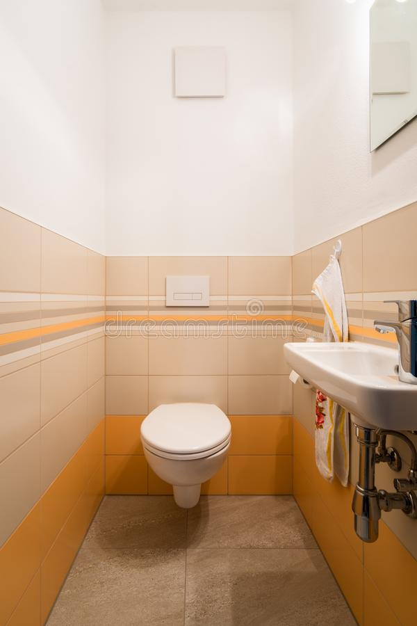 Vit toalettbunke i ett modernt badrum royaltyfri foto