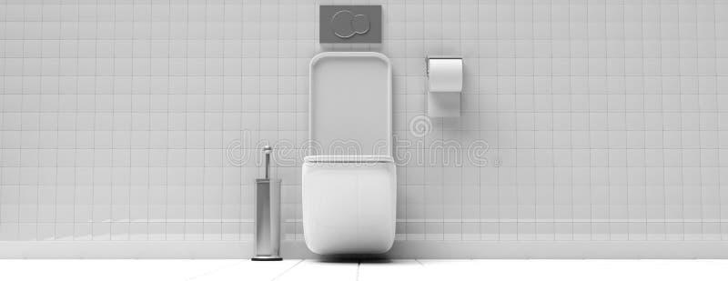 Vit toalettbunke och tillbehör på belagd med tegel vägg- och golvbakgrund, baner illustration 3d stock illustrationer