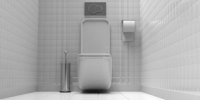 Vit toalettbunke och tillbehör på belagd med tegel vägg- och golvbakgrund illustration 3d vektor illustrationer