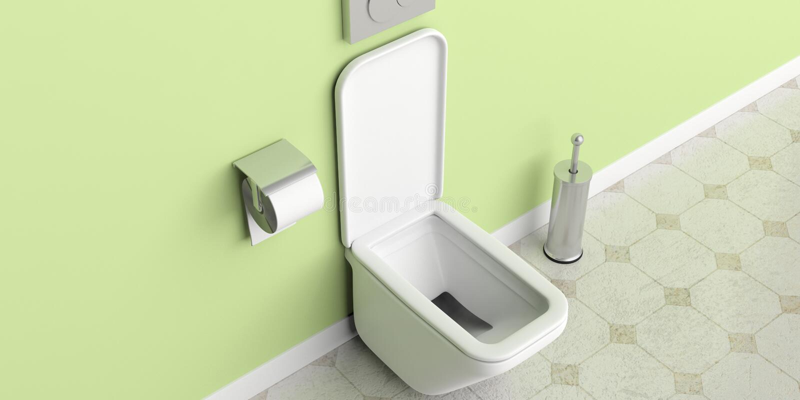 Vit toalettbunke och tillbehör på belagd med tegel vägg- och golvbakgrund illustration 3d royaltyfri illustrationer