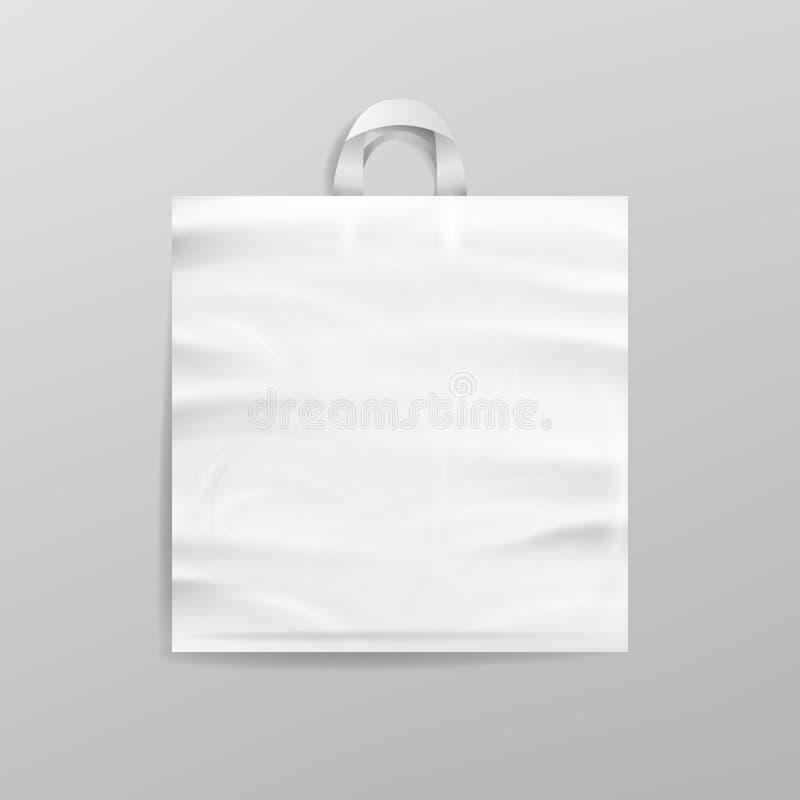 Vit tom återvinningsbar plast- shoppingpåse med handtag För slut åtlöje upp upp också vektor för coreldrawillustration royaltyfri illustrationer
