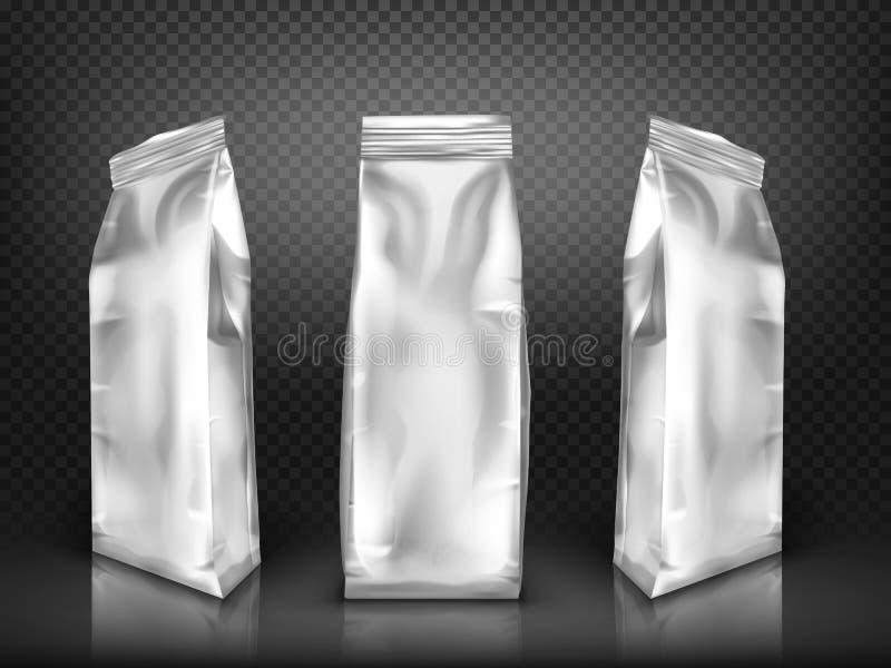Vit tom realistisk vektor för plast-- eller foliepacke royaltyfri illustrationer