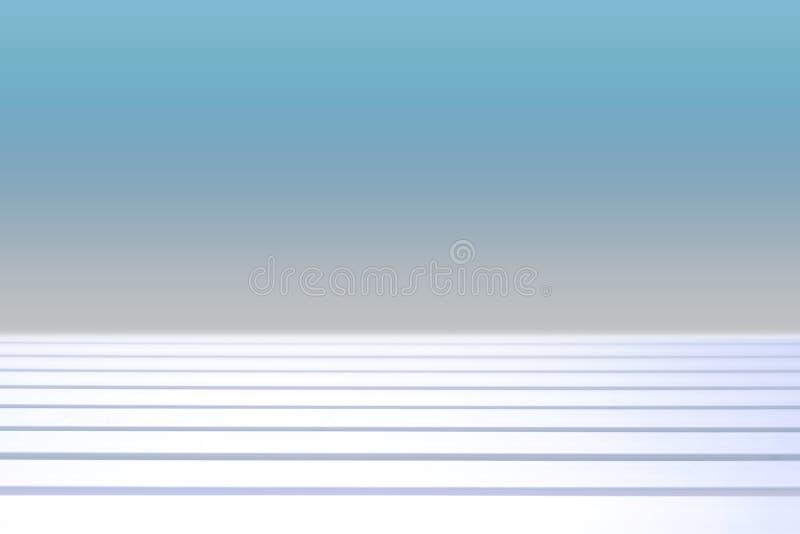 Vit trätabell med suddig blå bakgrund royaltyfria foton