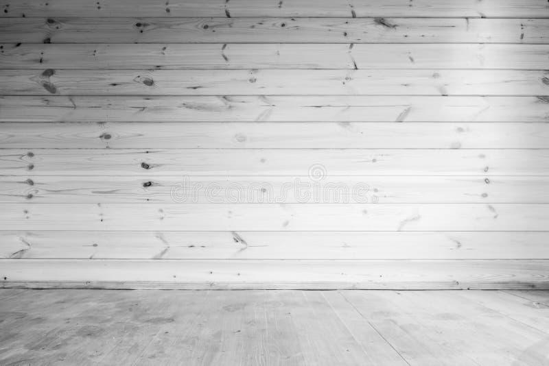 Vit trävägg- och golvbakgrund royaltyfri foto