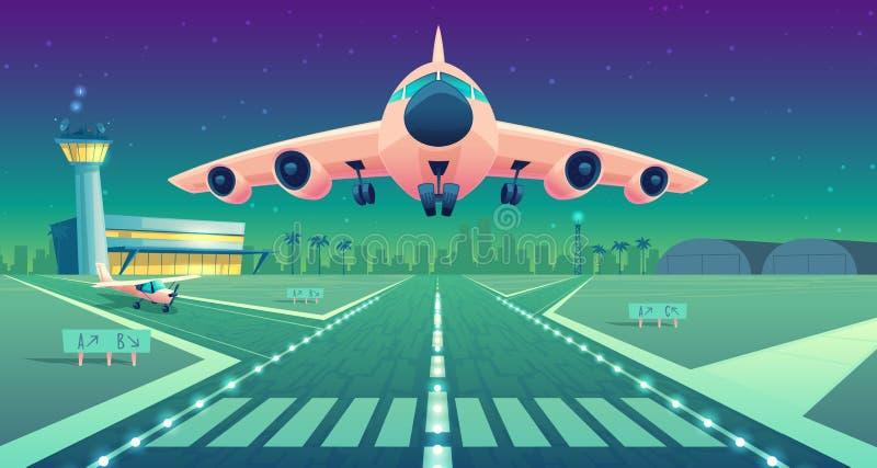 Vit trafikflygplan för vektortecknad film, stråle över landningsbana stock illustrationer