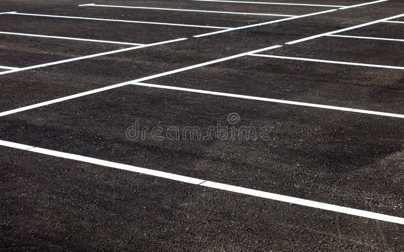 Vit trafikteckning på en asfaltparkeringsplats royaltyfria foton