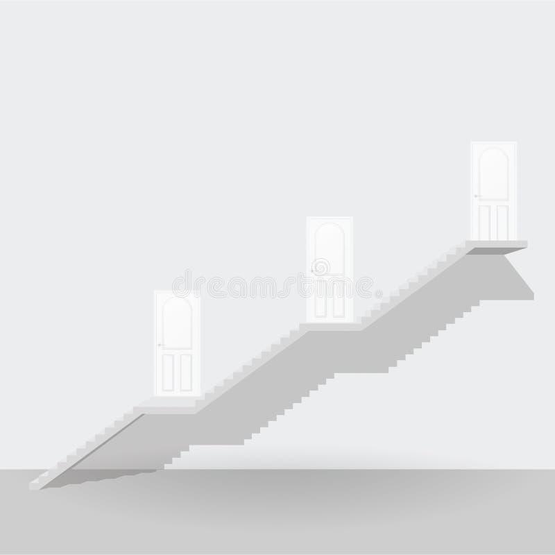Vit trappa upp till dörraffärsidé för tre moment stock illustrationer