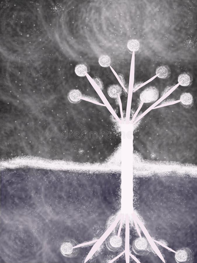 Vit tree stock illustrationer
