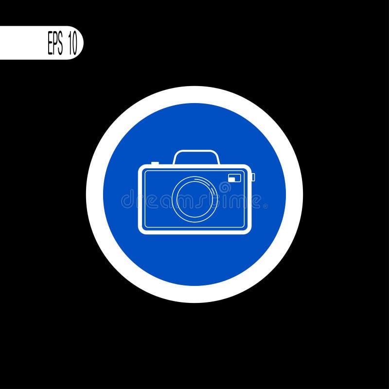 Vit tunn linje för runt tecken Fotokameratecken, symbol - vektorillustration stock illustrationer