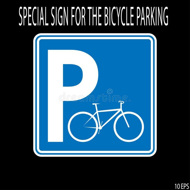 Vit tunn linje för teckencykelparkering på blå bakgrund som roadsign - vektorillustration stock illustrationer