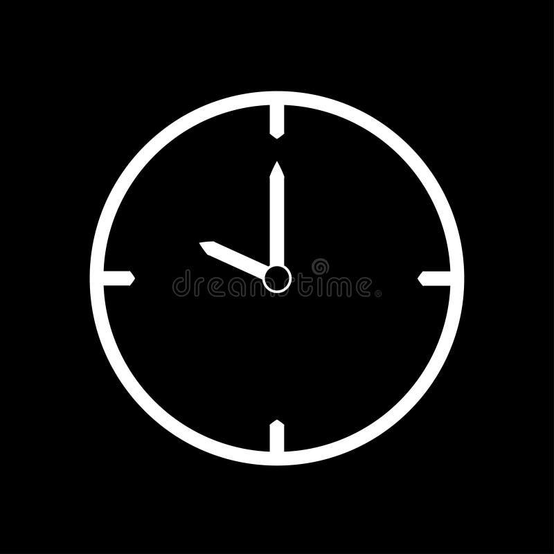 Vit tunn linje klockasymbol 10 klockan - vektorillustration vektor illustrationer