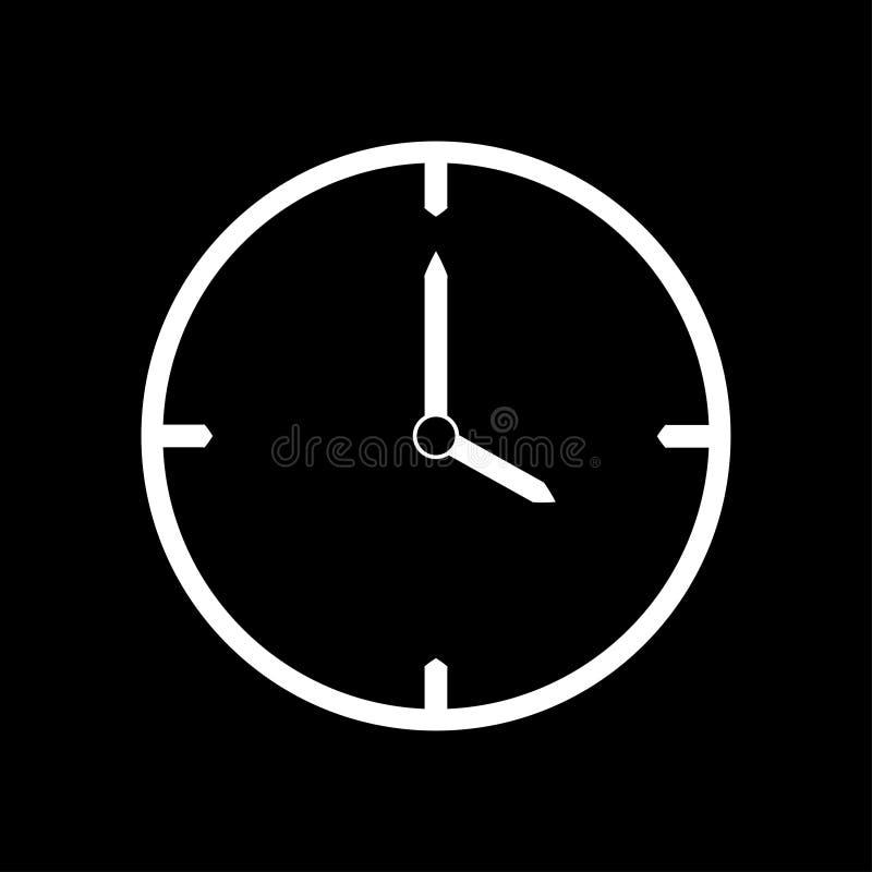 Vit tunn linje klockasymbol 4 klockan - vektorillustration stock illustrationer