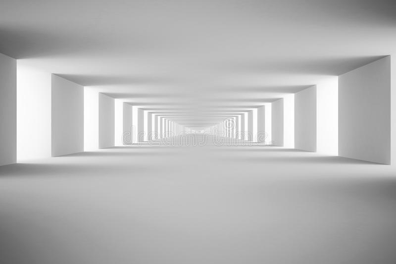 Vit tunnel. 3d framför stock illustrationer