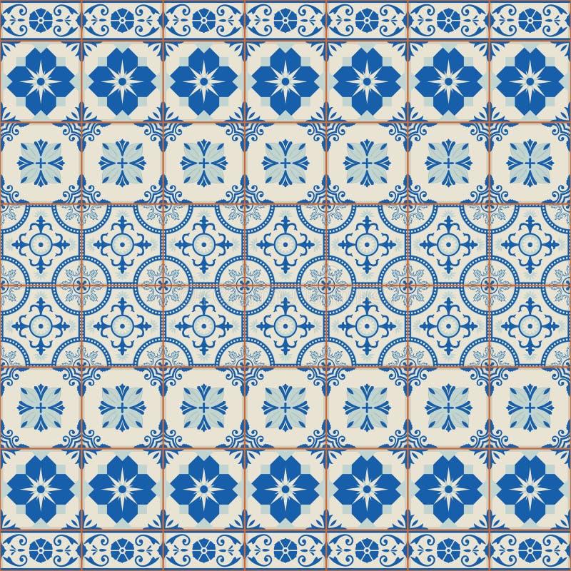 Vit turk för ursnygg sömlös modell som är marockansk, portugistegelplattor, Azulejo, prydnad stock illustrationer