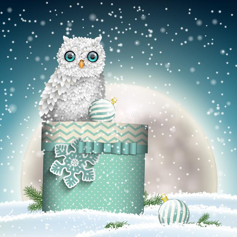 Vit uggla med den julgåvaasken och månen vektor illustrationer