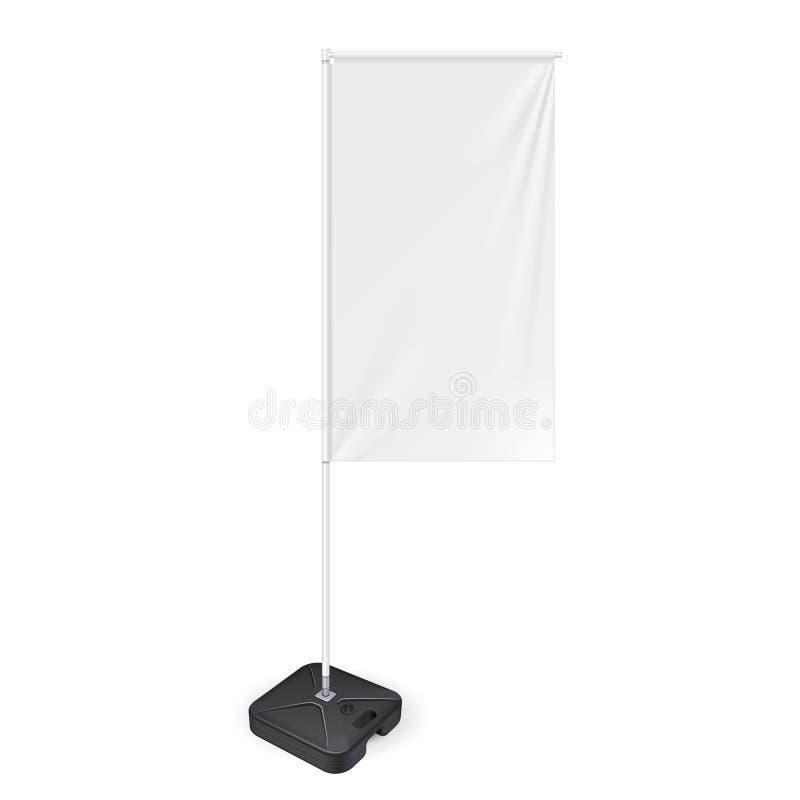 Vit utomhus- panelflagga med den jordFillable vattengrunden, sköld för Stander advertizingbaner Åtlöje upp produkter vektor illustrationer