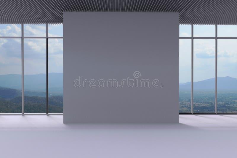Vit vägg och panorama- fönsterbakgrund i utrymmet vektor illustrationer