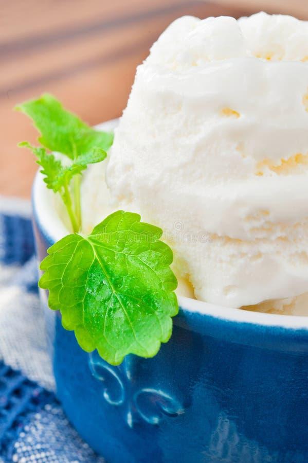 Vit vaniljglass med mintkaramellbladet i porslinbunke. Inomhus royaltyfri foto