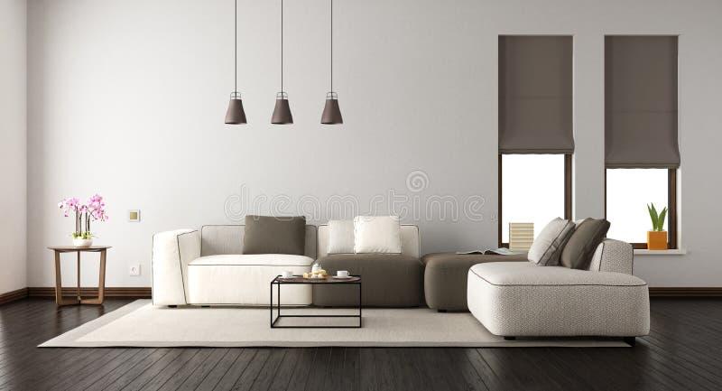Vit vardagsrum med den eleganta soffan royaltyfri illustrationer