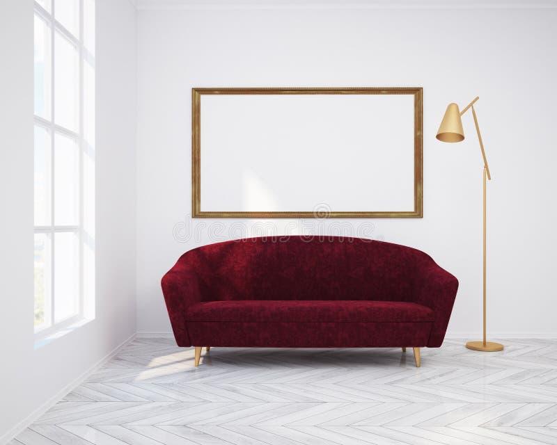 Vit vardagsruminre, soffa och affisch vektor illustrationer