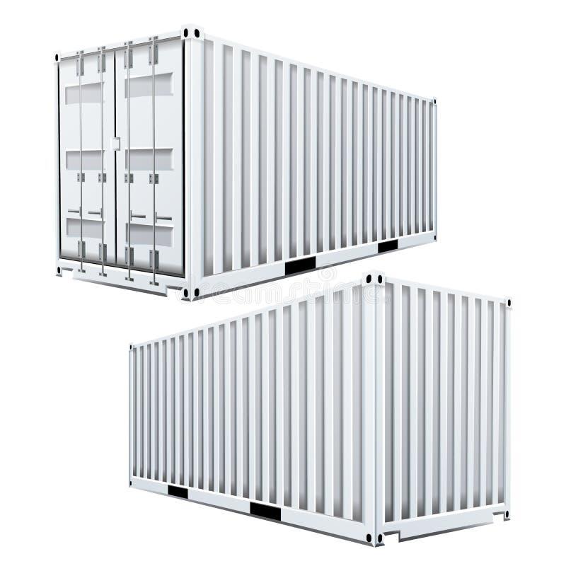 Vit vektor för lastbehållare 3D Klassisk lastbehållare Fraktsändningsbegrepp logistik Isolerat på vit vektor illustrationer