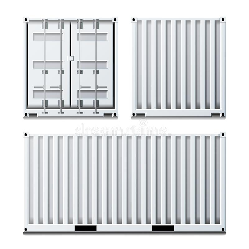 Vit vektor för lastbehållare Klassisk lastbehållare Fraktsändningsbegrepp logistik bakgrund isolerad white royaltyfri illustrationer