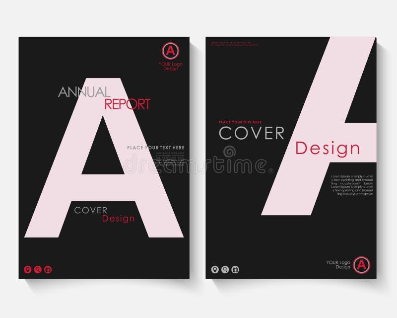 Vit vektor för mall för design för bokstavsårsrapporträkning Portfölj för website för broschyrbegreppspresentation Svart orienter vektor illustrationer