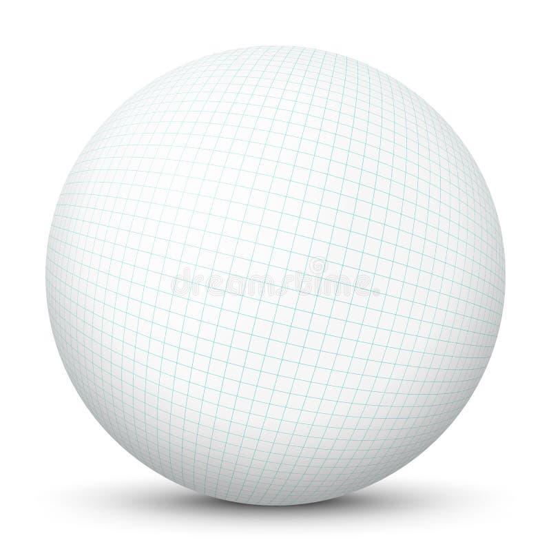 Vit vektorsfär för mellanrum 3D med kartlagd kvadrerad pappers- textur - tom ren bollmall vektor illustrationer