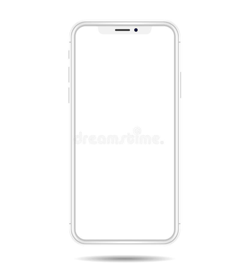 Vit vektorteckning för ny smartphone som isoleras på vit bakgrund royaltyfri illustrationer