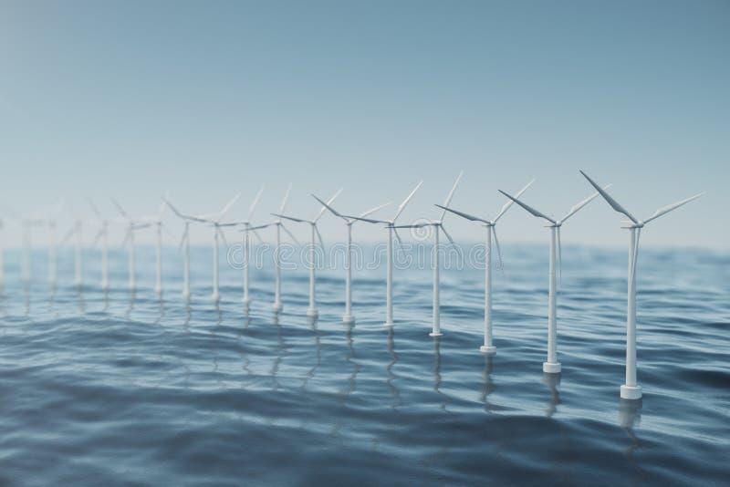 Vit vindturbin som frambringar elektricitet i havet, hav Ren energi, vindenergi, ekologiskt begrepp framförande 3d vektor illustrationer