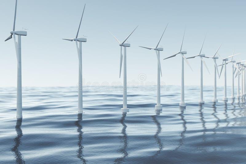 Vit vindturbin som frambringar elektricitet i havet, hav Ren energi, vindenergi, ekologiskt begrepp framförande 3d royaltyfri illustrationer